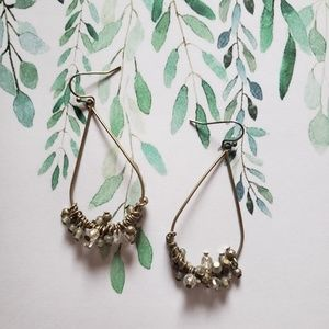 Bronze and clear beaded earrings
